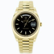 Rolex Day Date 40 Yellow Gold 228238 Black Baton Dial