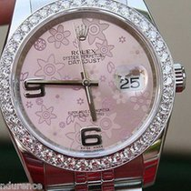 Rolex Mens Ladies New Datejust Womens 36mm Size Pink Floral...