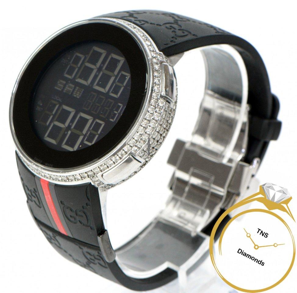 d2516a8bf98 Gucci 114-2 YA114209 Digital 3 Carats Diamond Bezel Watch 44mm... for Php  70