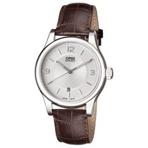 Oris Classic Date Silver Dial Brown Leather Men's Watch