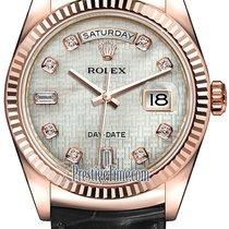 Rolex Day-Date 36mm Everose Gold Fluted Bezel 118135 White MOP...