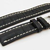 Breitling CROCO Lederband schwarz mit Dornschließe 22/20 mm