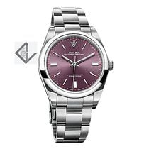 Rolex Oyster Perpetual 39 Stainless Steel Watch Red Grape Dial...