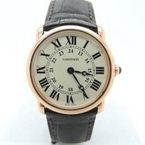 Cartier Ronde Solo Louis 18k Rose Gold Watch w/Black Crocodile...