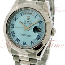Rolex Day-Date II President, Smooth Bezel, Ice Blue Concentric...