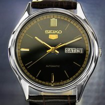 Seiko 5 Automatic Black Leather Day Date Stainless Steel 1970s...