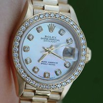 Rolex Ladies President 18k Yellow Gold 69178 Diamond Mother Of...