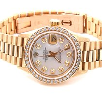 Rolex Ladies 18K Yellow Gold President - MOP Diamond Dial/Diam...