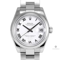 Rolex Datejust Stainless Steel White Roman Numeral Dial Smooth...
