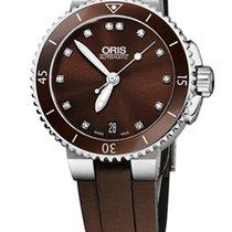 Oris Aquis Date Diamonds, Brown, Ceramic Top, Rubber
