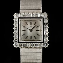 Omega 18k W/G Silver Dial Diamond Set Ladies Vintage Watch 8082