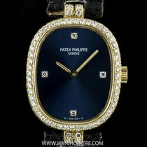 Patek Philippe 18k Yellow Gold Blue Dial Diamond Set Ellipse 4498