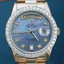 Rolex Mens President Blue Mother Of Pearl Diamond Dial 18038...