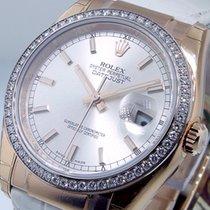 Rolex 116185 Datejust Everose Gold Diamond Bezel 36 Mm Silver...