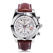Breitling Chronomat 44mm GMT Silver Dial Mens Watch AB042011/G...