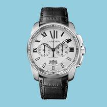 Cartier Calibre de Cartier Chronograph, Edelstahl, weiß, Leder