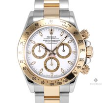 Rolex Daytona Steel and Gold White Dial Tachymeter Engraved...