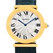 Cartier Vendome Biplan 18k Yellow Gold Blue Strap Watch W1514457
