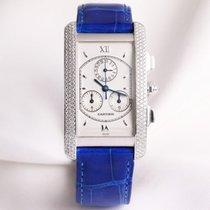 Cartier Tank Americaine Chronograph Diamond WB705951 18K White...