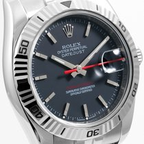 Rolex Mens SS 36mm Turn-O-Graph Datejust - Black Dial - 116264
