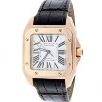 Cartier Santos 100 18K Rose Gold Midsize Silver Roman W20108Y1...
