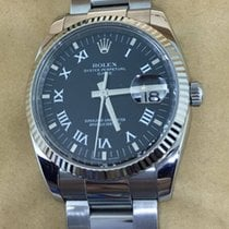 Rolex Oyster Perpetual Date White Gold Bezel Black Dial Roman