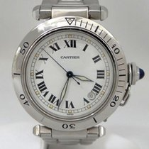 Cartier Mens Large Cartier Pasha Stainless Steel White Dial...