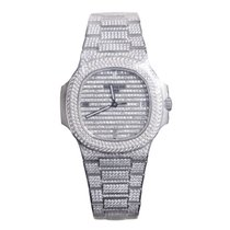 Patek Philippe New  Nautilus 18k White Gold Silver Automatic...