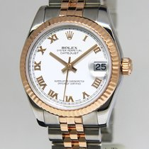 Rolex Datejust 31 18k Rose Gold/Steel White Roman Dial Watch...