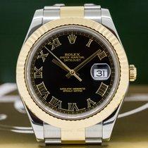 Rolex 116333 116333 Datejust II 18K / SS Black Roman Dial (26590)