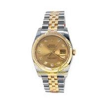 Rolex Datejust 36mm Steel Yellow Gold Diamonds, 116233