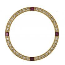 Rolex Zubehör - Lünette Gelbgold Diamant Rubin 26mm- Neu