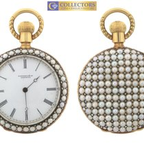 Tiffany 18K Gold Pearl Diamond Open Face Pocket Watch