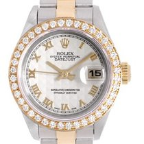 Rolex Datejust Ladies Diamond Watch 69173 Ivory Pyramid Dial