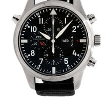 IWC Pilot Double Chronograph Black Dial Crocodile Leather NEW