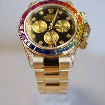 Rolex Daytona Yellow Gold Custom Rainbow Diamond Set