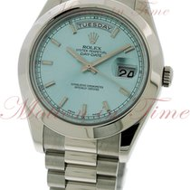 Rolex Day-Date II President, Ice Blue Index Dial, Smooth Bezel...