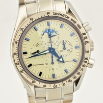 Omega Speedmaster Moon Phase Stainless Steel Manual Blue Hands...