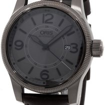 Oris Big Crown Automatic Steel Mens Strap Watch Date Gray Dial...