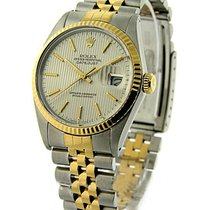 Rolex Used 16233_sivler_tapistry_used Mens 2-Tone Datejust -...