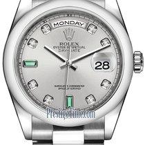 劳力士  (Rolex) Day-Date 36mm Platinum Domed Bezel 118206 Rhodium...