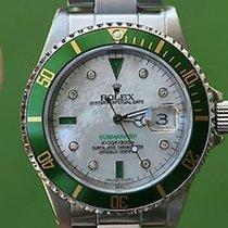 Rolex Mens Submariner Stainless Steel Green Bezel White Mother...