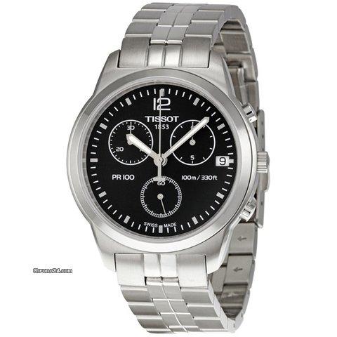 tissot pr100 chronograph black dial men 39 s watch f r 370 kaufen von einem trusted seller auf. Black Bedroom Furniture Sets. Home Design Ideas