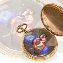 Pocket watch: verge watch with hidden erotic painting, signed...