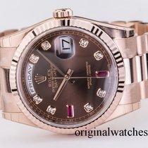 Ρολεξ (Rolex) Day-Date 36mm Everose gold Fluted Bezel President