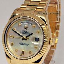 Rolex Day-Date II 18k Yellow Gold Mens Watch MOP Diamond Dial...