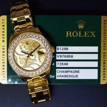 Rolex Pearlmaster 34 18k Gold & Diamond Arabesque Dial...