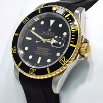 Rolex Submariner 16613 Two Tone 18k Yellow Gold /steel Black...