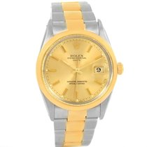 Rolex Date Steel 18k Yellow Gold Vintage Mens Watch 15003 Box...