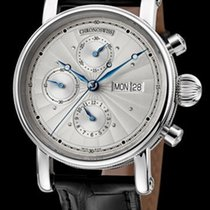 Chronoswiss Sirius Chronograph Day Date Steel-Silver Guilloche...